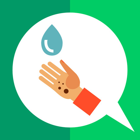 Multicolored vector icon of dirty human palm and water drop