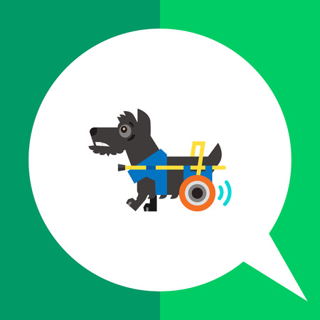 incapacitated: Multicolored flat icon of disabled dog moving with help of prosthesis