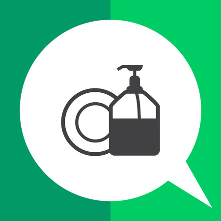 cleansing: Icon of plate and pump detergent bottle