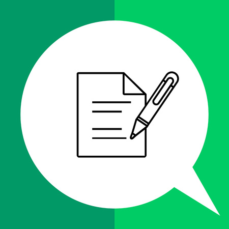Document with pen line icon. Vector illustration of sheet of paper with lines and pen