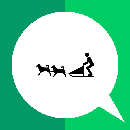 ruling: Vector icon of dogteam and sled with man ruling