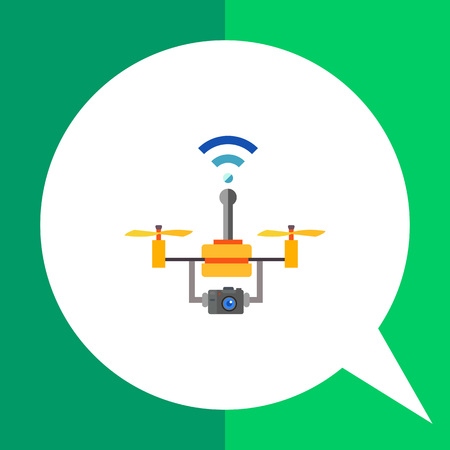 wireless connection: Multicolored flat icon of drone technology, flying copter with camera and wireless connection