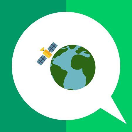 Multicolored vector icon of Earth globe and satellite