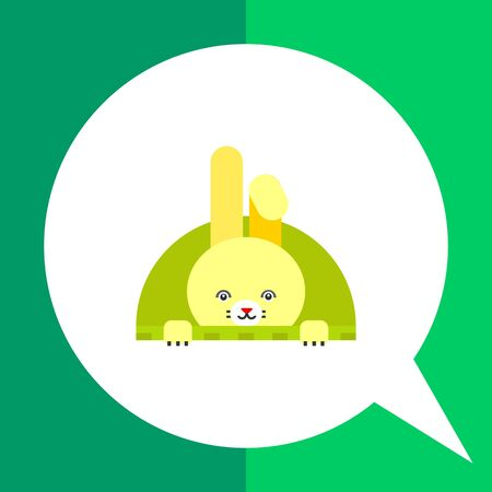 semicircle: Icon of cute yellow Easter bunny with one folded ear in green semicircle