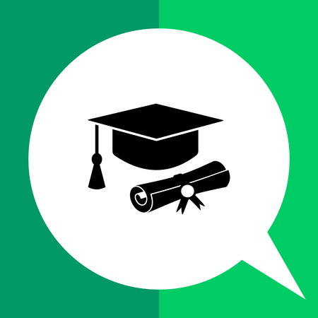 Monochrome vector icon of diploma roll and graduate hat with tassel representing education
