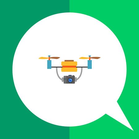 autonomia: Multicolored flat vector icon of aerial drone with camera