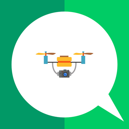 Multicolored flat vector icon of aerial drone with camera