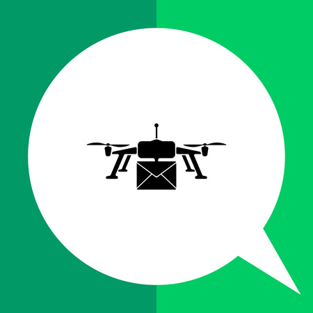 correspondence: Drone delivery flat icon. Vector minimalistic illustration of drone delivering mail correspondence Illustration