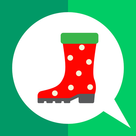 Vector icon of single red dotted rubber boot