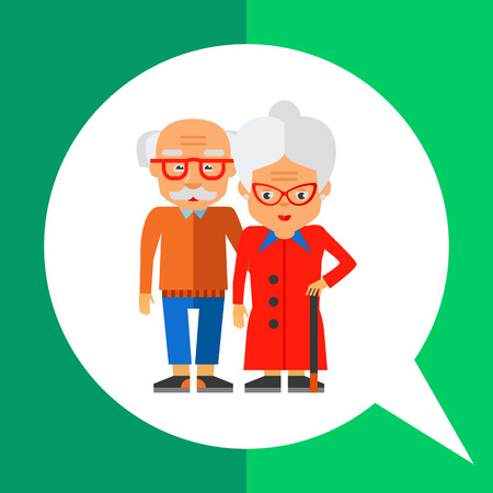 wrinkly: Elderly people icon. Multicolored vector illustration of elderly couple