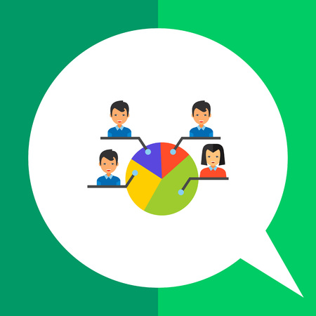 electoral system: Electorate vector icon. Multicolored illustration of pie chart with male and female electors