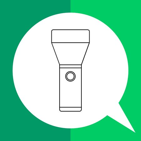 handheld: Vector icon of flashlight, hand-held electric light