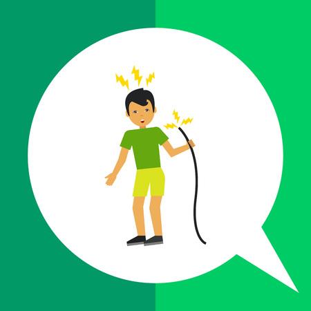 descarga electrica: icono de vectores multicolor del hombre que consigue una descarga eléctrica desde el cable