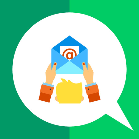 direct mail: Multicolored vector icon of human head and hands holding open envelope representing e-mail marketing