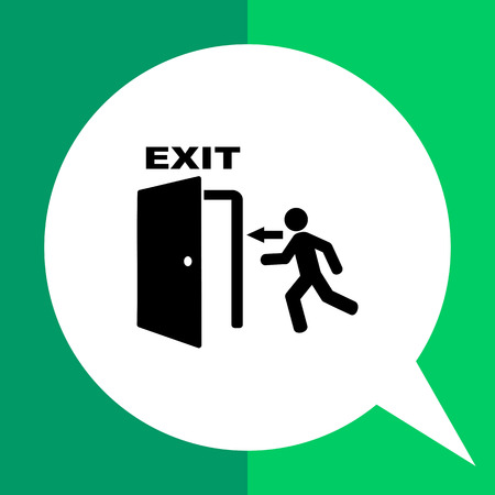 going away: Monochrome vector icon of man running into open door representing emergency exit Illustration