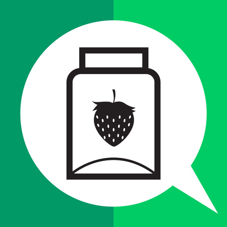 Vector icon of empty jam jar with strawberry picture