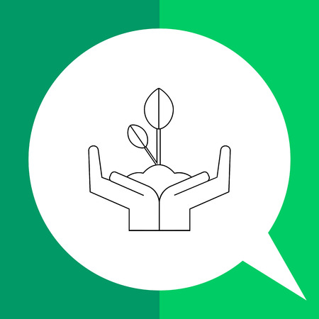 Vector icon of human hands holding growing sprout representing environmental protection concept