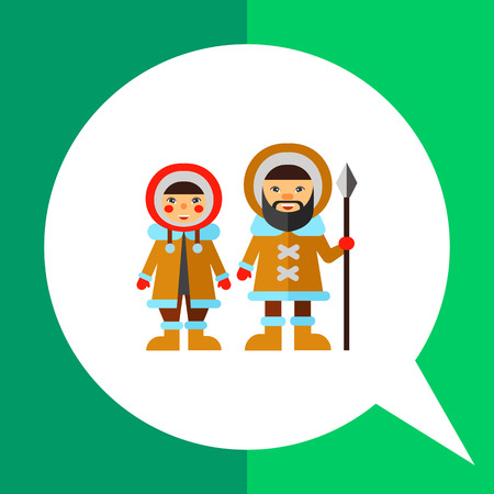 fur coat: Multicolored vector icon of Eskimo man with spear and woman wearing fur coat with hood
