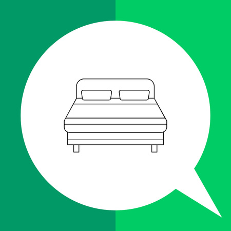 headboard: Monochrome vector icon of double bed with two pillows and headboard