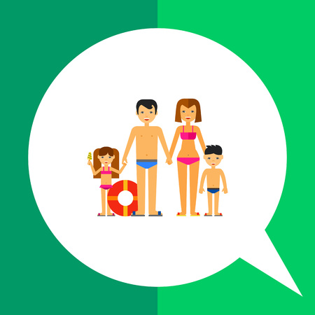 Multicolored vector icon of family consisting of man, woman and two children on beach