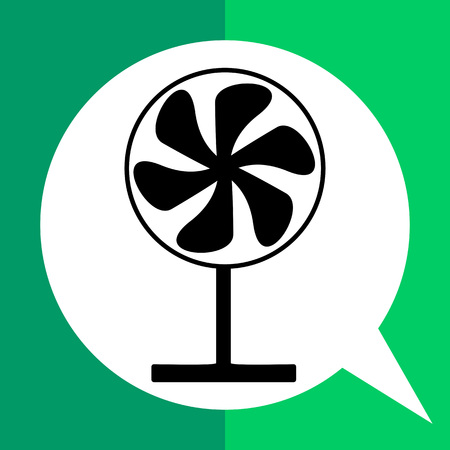 draught: Monochrome vector simple icon of working fan on stand Illustration