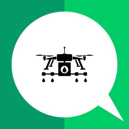 Farming drone flat icon. Vector illustration of drone with sprinkler system