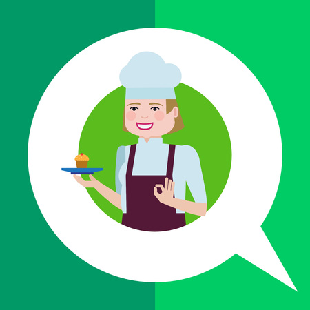 okay: Female character, portrait of smiling female confectioner holding plate with cupcake, showing okay gesture