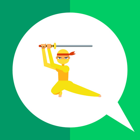 katana: Vector icon of female ninja in yellow costume with katana sword