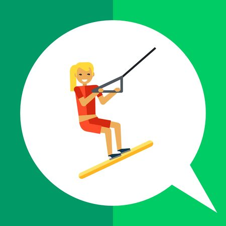 enjoying: Multicolored vector icon of female character water skiing