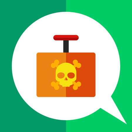 Multicolored vector icon of explosive detonator with danger sign