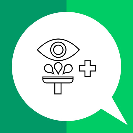 irrigation: Eye irrigation flat icon. Vector illustration of eye and irrigation device Illustration