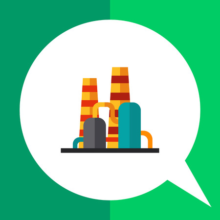 Multicolored vector icon of factory with pipe and pipeline