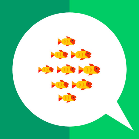 Multicolored vector icon of fish shoal with nine fishes