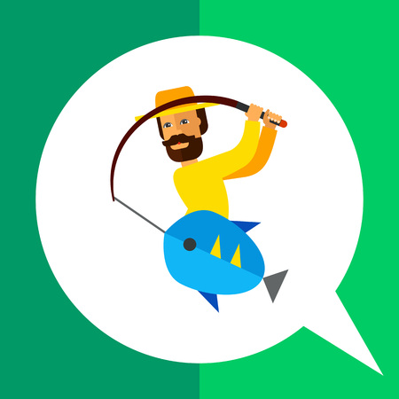 Multicolored vector icon of fisherman pulling fishing rod with fish on it