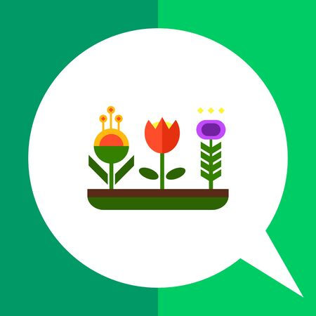 Vector icon of flower bed with various flowers Illustration
