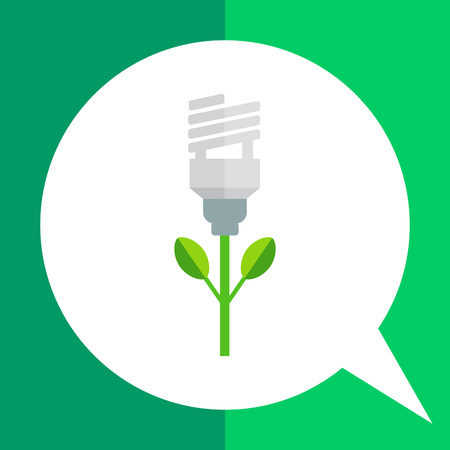 fluorescent lamp: Icon of stylized green fluorescent lamp flower Illustration
