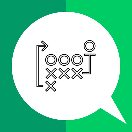 naught: Football strategy flat icon. Vector illustration of naughts, crosses, lines and arrows showing football strategy