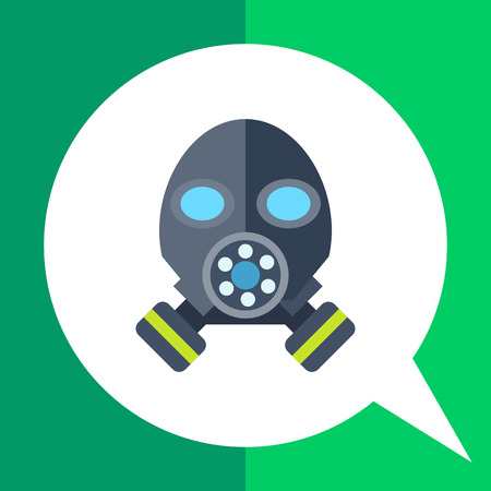 Multicolored vector icon of gas mask, front view Illustration