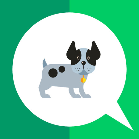 Multicolored vector icon of funny dog standing with its ears up