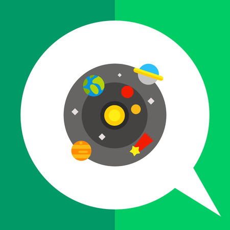 macrocosm: Multicolored vector icon of model of galaxy with Sun, planets, comet and stars Illustration