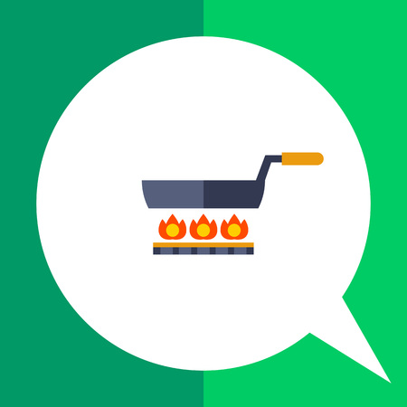 gas cooker: Multicolored vector icon of frying pan standing on gas cooker Illustration