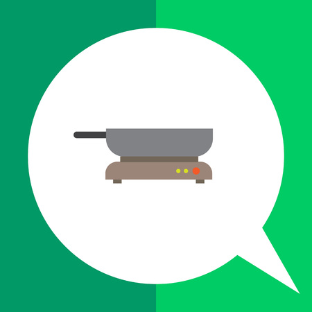 Icon of frying pan standing on hotplate Illustration