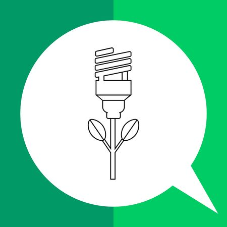 energysaving: Vector icon of energy-saving light bulb as bud of flower representing green energy concept