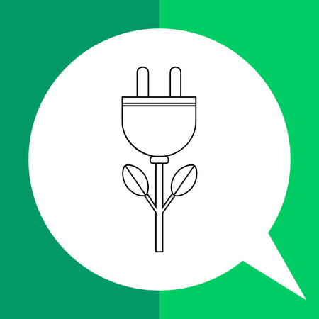 Vector icon of electric plug as bud of flower representing green energy concept
