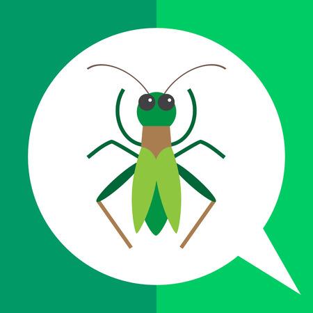 Multicolored vector icon of green cartoon grasshopper, top view