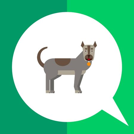 nape: Multicolored vector icon of grey dog with dog collar