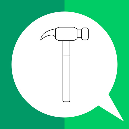 drive nail: Hammer vector icon. Line illustration of modern claw hammer