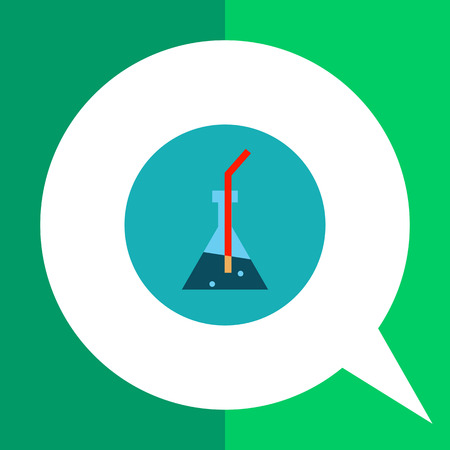 erlenmeyer: Multicolored vector icon of Erlenmeyer flask and red straw