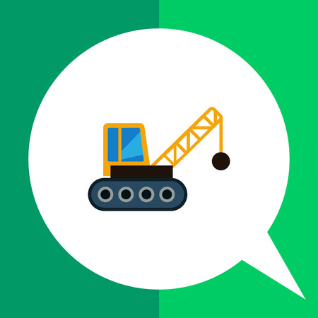 the wrecker: Multicolored vector icon of crane with wrecking ball