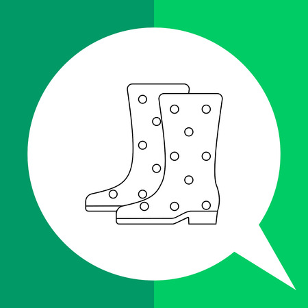 gumboots: Gumboots vector icon. Line illustration of pair of spotted gumboots